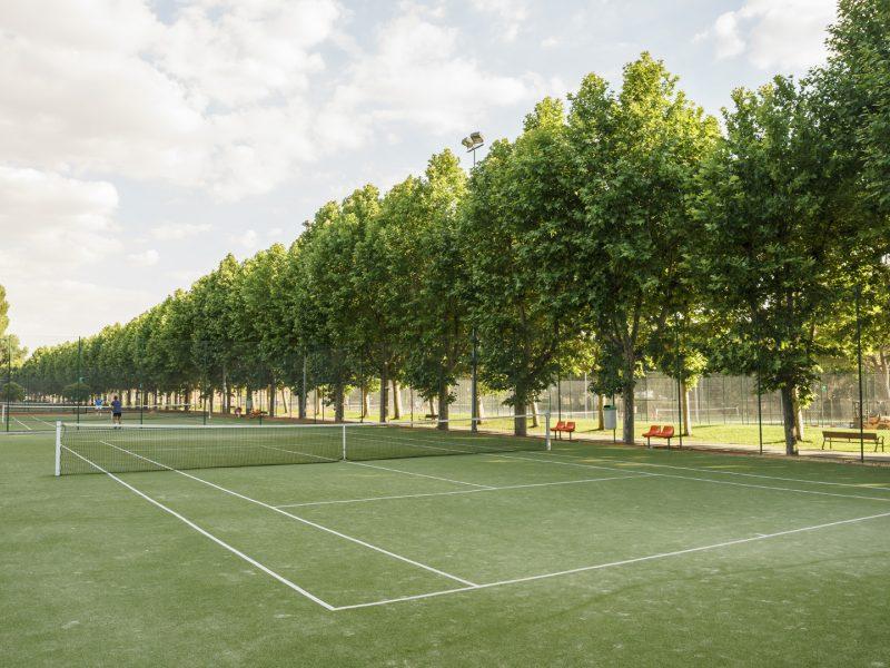 Pista de tenis de hierba artificial rodeada de árboles
