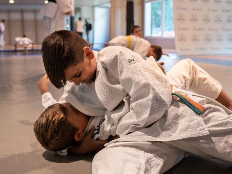 Niños haciendo llave de judo sobre tatami