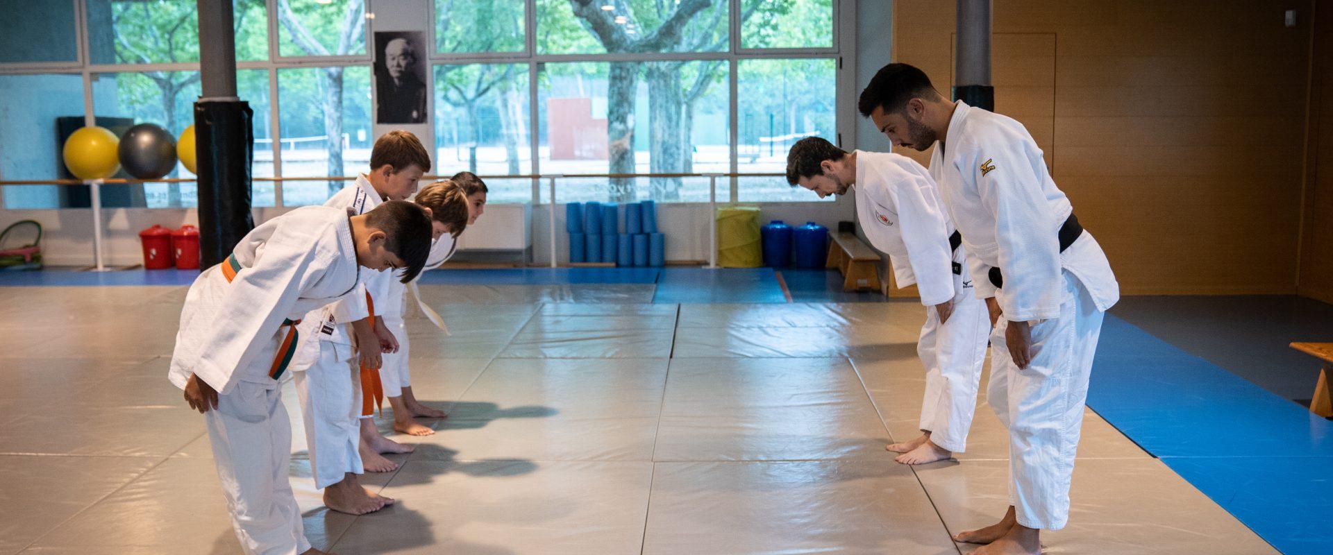 Profesores de judo y alumnos se saludan sobre el tatami